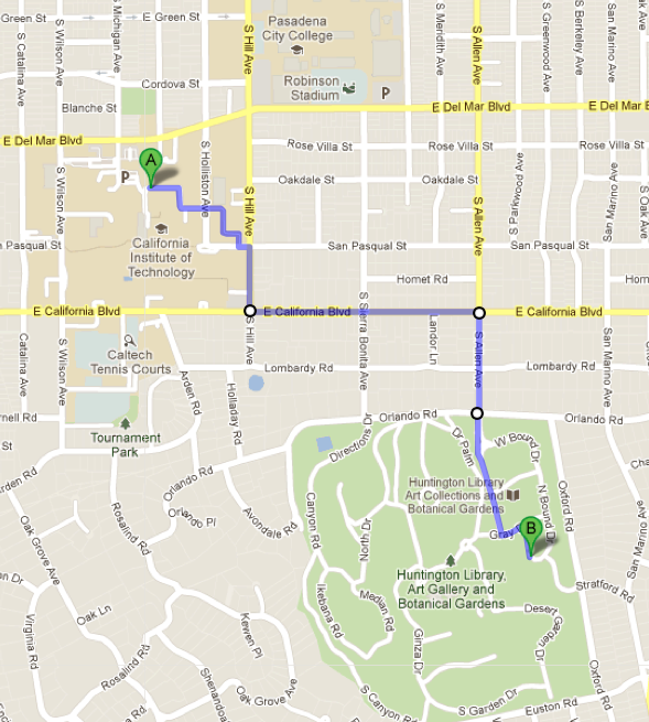 Walking map to Huntington
